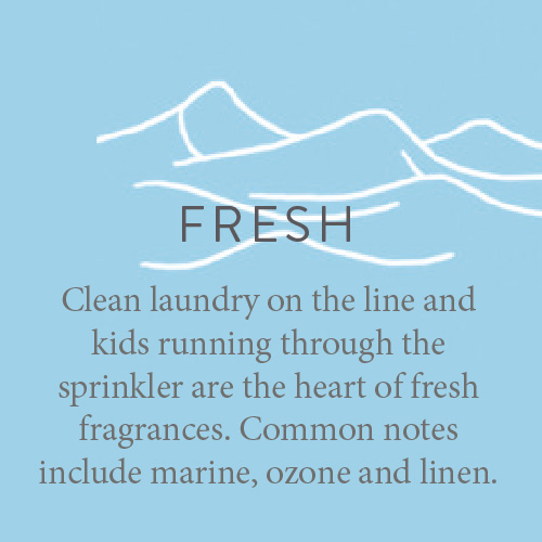 Clean laundry on the line and kids running through the sprinkler are the heart of fresh fragrances. Common notes include marine, ozone and linen.