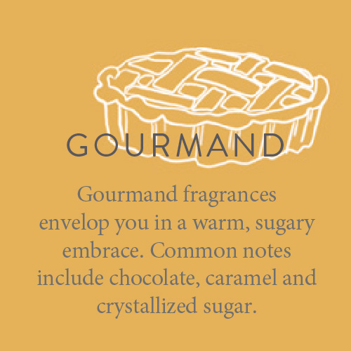 Gourmand fragrances envelop you in a warm, sugary embrace. Common notes include chocolate, caramel and crystallized sugar.