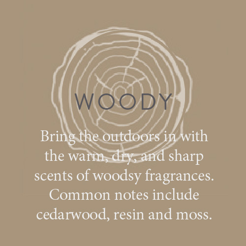 fragrance candles woody Bring the outdoors in with the warm, dry, and sharp scents of woodsy fragrances. Common notes include cedarwood, resin and moss.